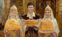 МУРТАЗИН ИЛЬДУС ХАЗИЕВИЧ. 1964 г. Казань ВСТРЕЧА ГОСТЕЙ Холст, масло
