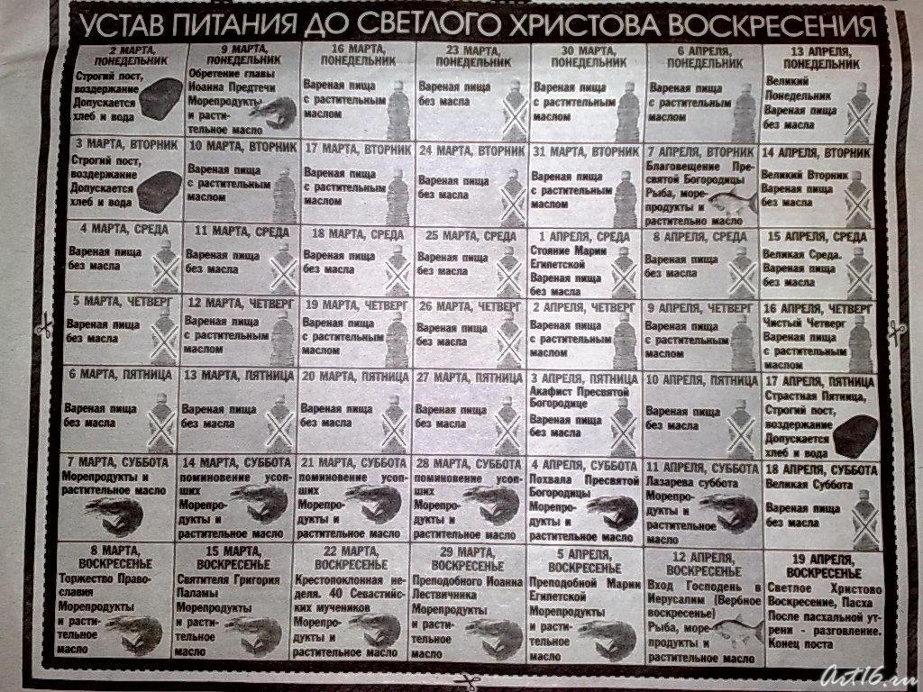 Устав питания во время поста. 2009г.::Служебный