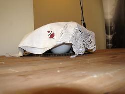 Блюдо, покрытое вышитым полотенцем на обеденном столе