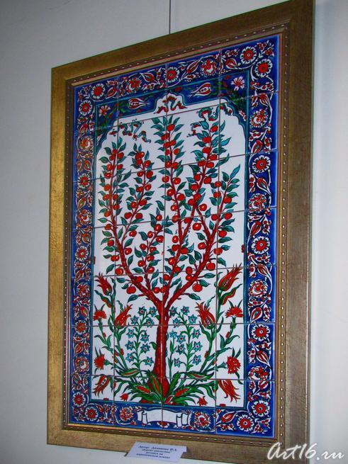 ʺДерево апельсинаʺ, роспись на керамической плитке:: Флера Даминова