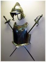 Шлем-бургиньот, нагрудник, шпага