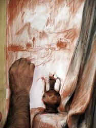 Рука художника. Пейзаж за окном оживил картину