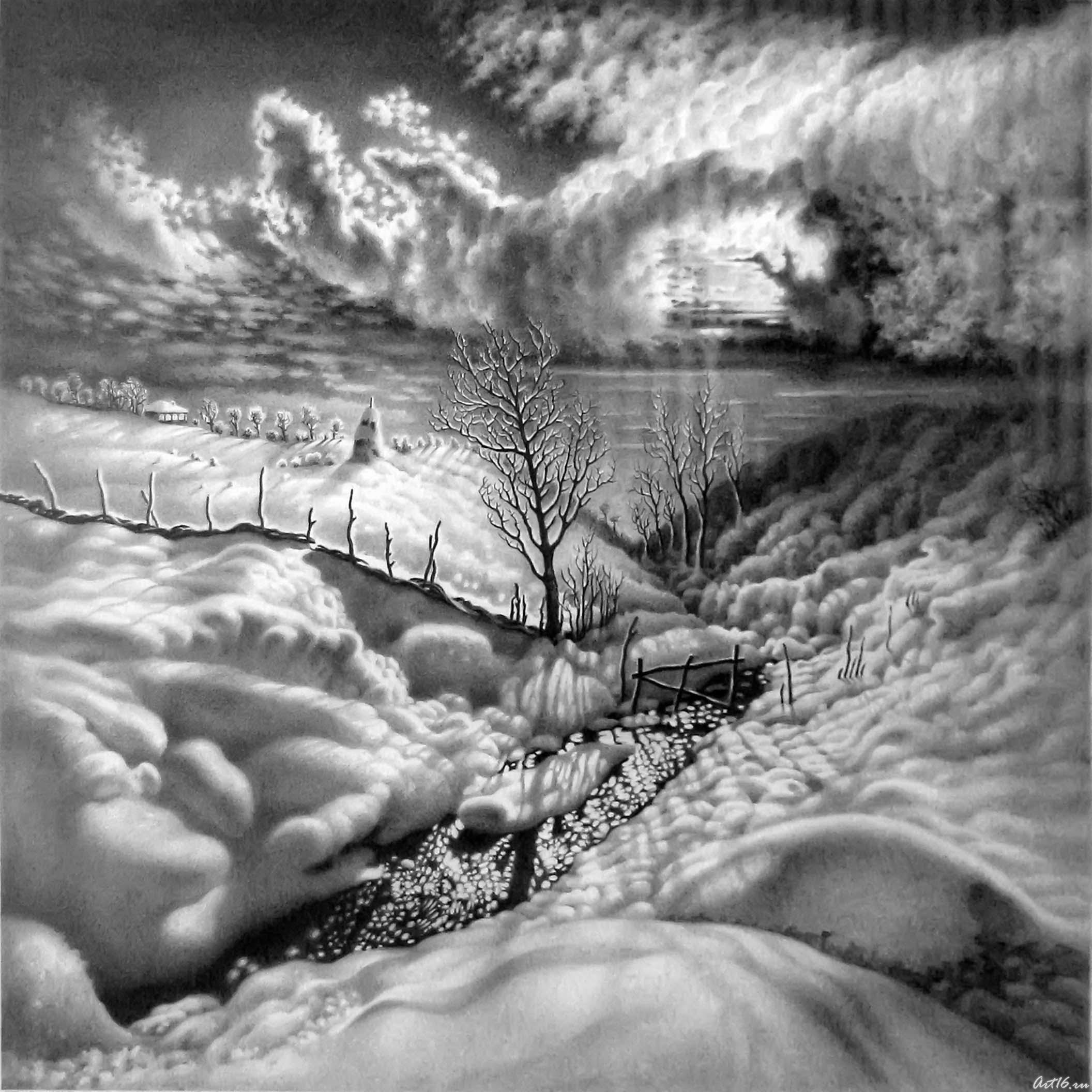 Зима рисунки простым карандашом 2