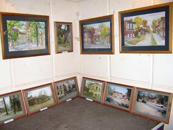 Фрагмент экспозиции. Евгения Шапиро; акварель, фото