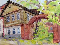 Казань, ул.Галактионова, 1999. Евгения Шапиро; акварель