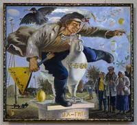 Открытие памятника петуху-гиганту. 2002.  Акимов Владимир Яковлевич