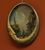 Тарелка с изображением пейзажа в форме полумесяца, 1880-1885. Эмиль Галле (1864-1904) Сен-Клеман
