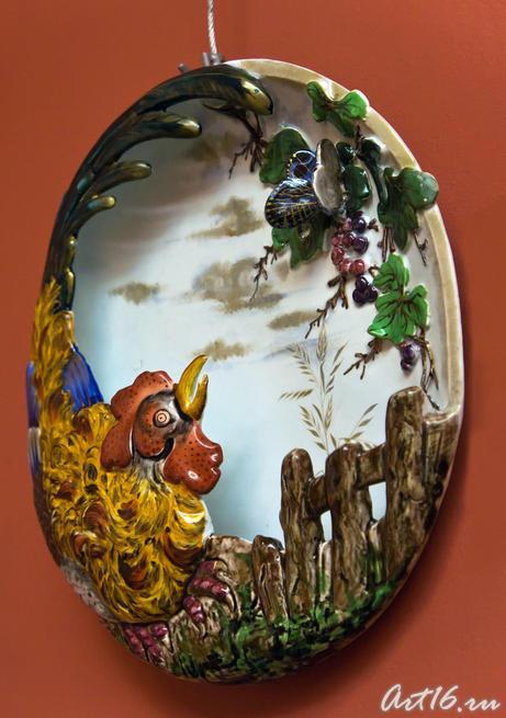 Декоративная тарелак с изображением петуха, 1870. Огюст Мажорель (1825-1879)::Фаянс Галле и школа Нанси