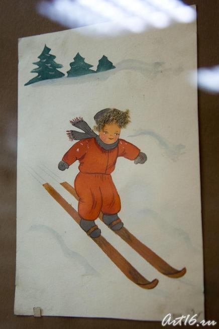 Довоенная открытка «Мальчик на лыжах»