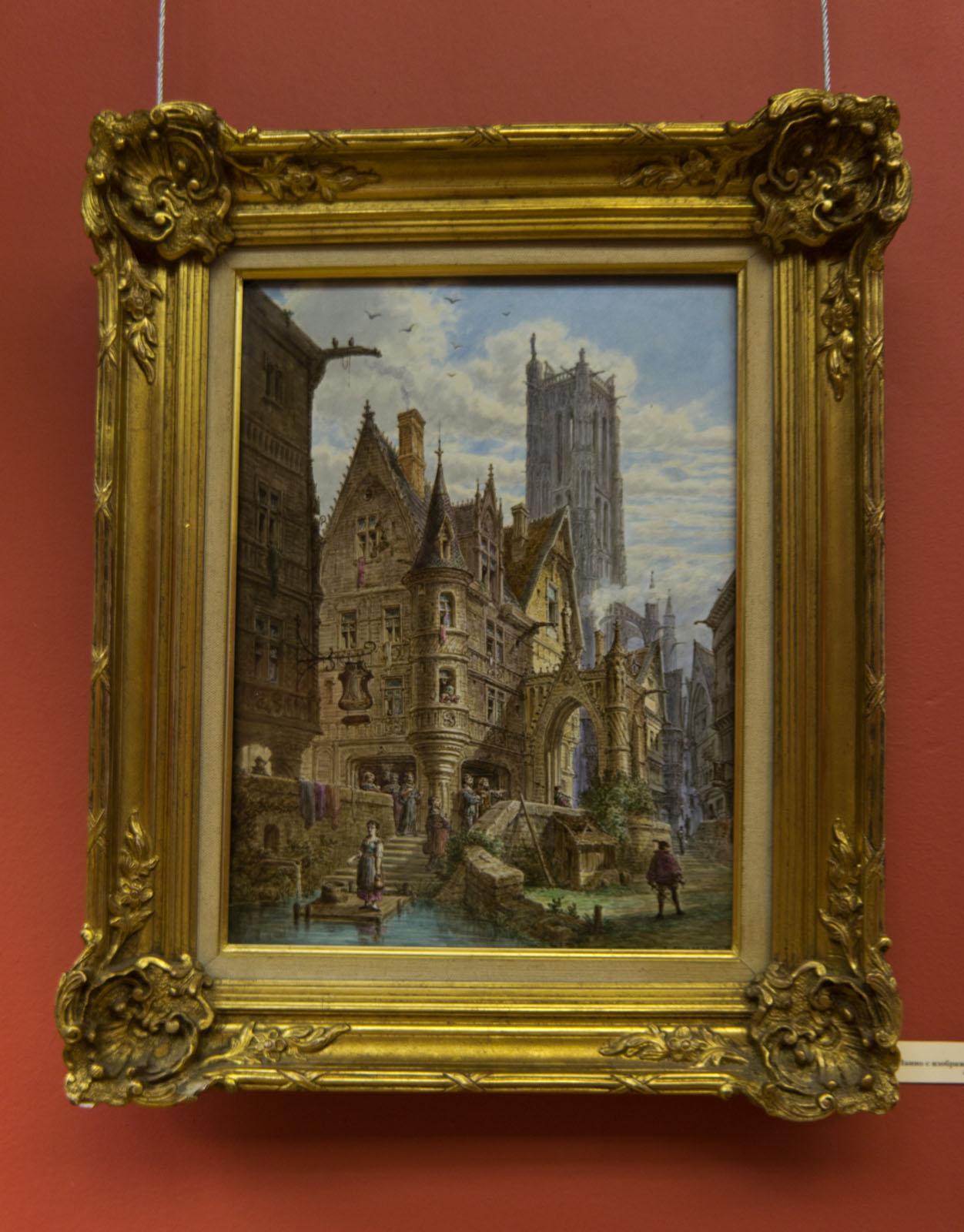 Фото №72636. Панно с изображением башни Сен-Жак в Париже. 1880