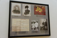 Стенд, посвященный семье Рериха (фото, запись о бракосочетании)