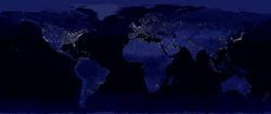Карта электрификации планеты. Это - наша планета ночью.