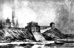 Старинная гравюра. Вид на Казанский кремль со стороны р.Казански