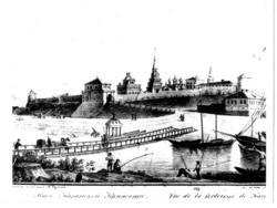 Мост через р.Казанка и Казанский кремль. старинная гравюра.