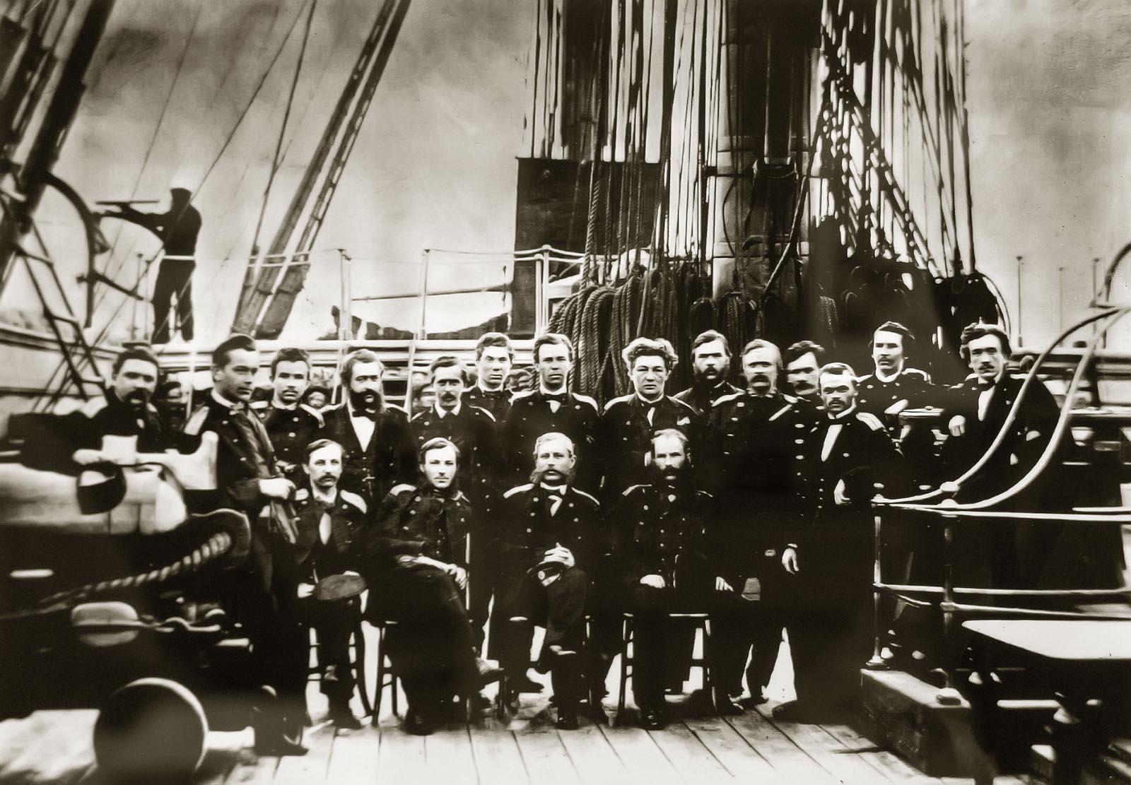 Фото русских морских офицеров парусного флота металлический лист