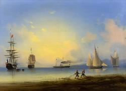 Айвазовский Иван Константинович. 1817-1900 Русский и французский фрегаты. 1854