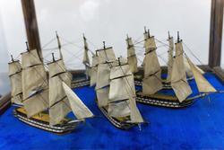 Модель 66-пушечных кораблей (1780-е), по ватерлинию с парусами, игровая Мастерская Адмиралтейства, Санкт-Петербург. 1780