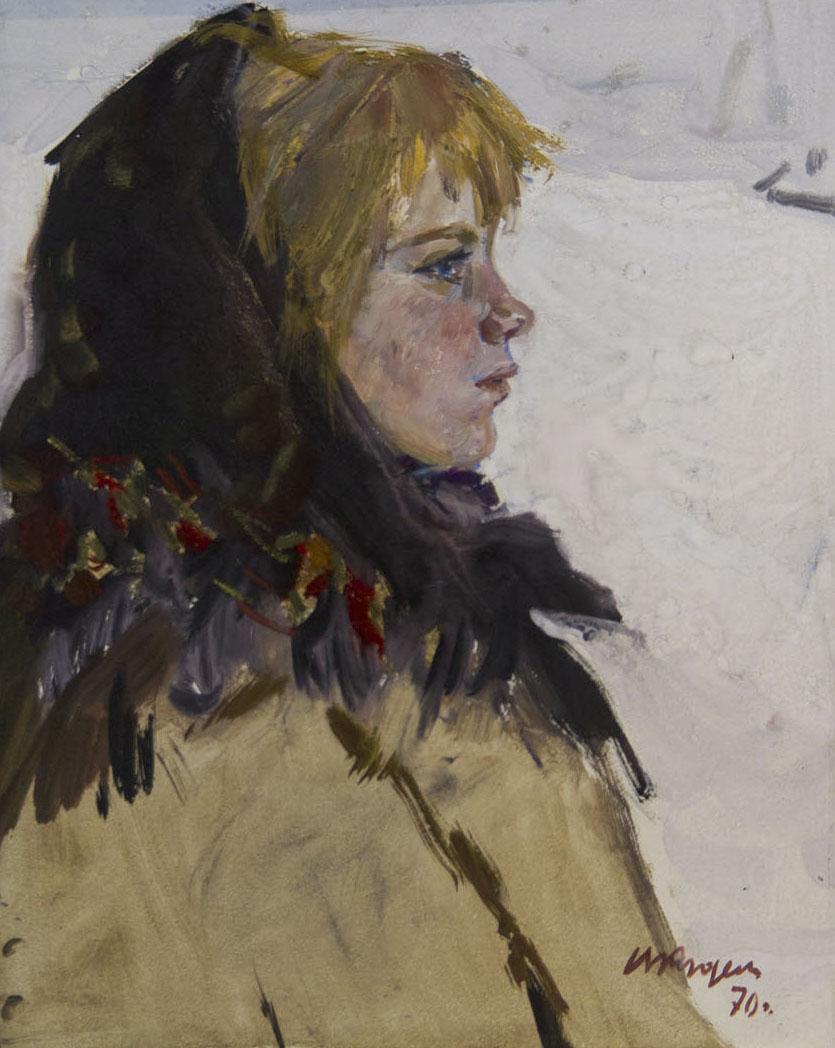 Фото №75651. «Снегурочка», картон, масло, 1970