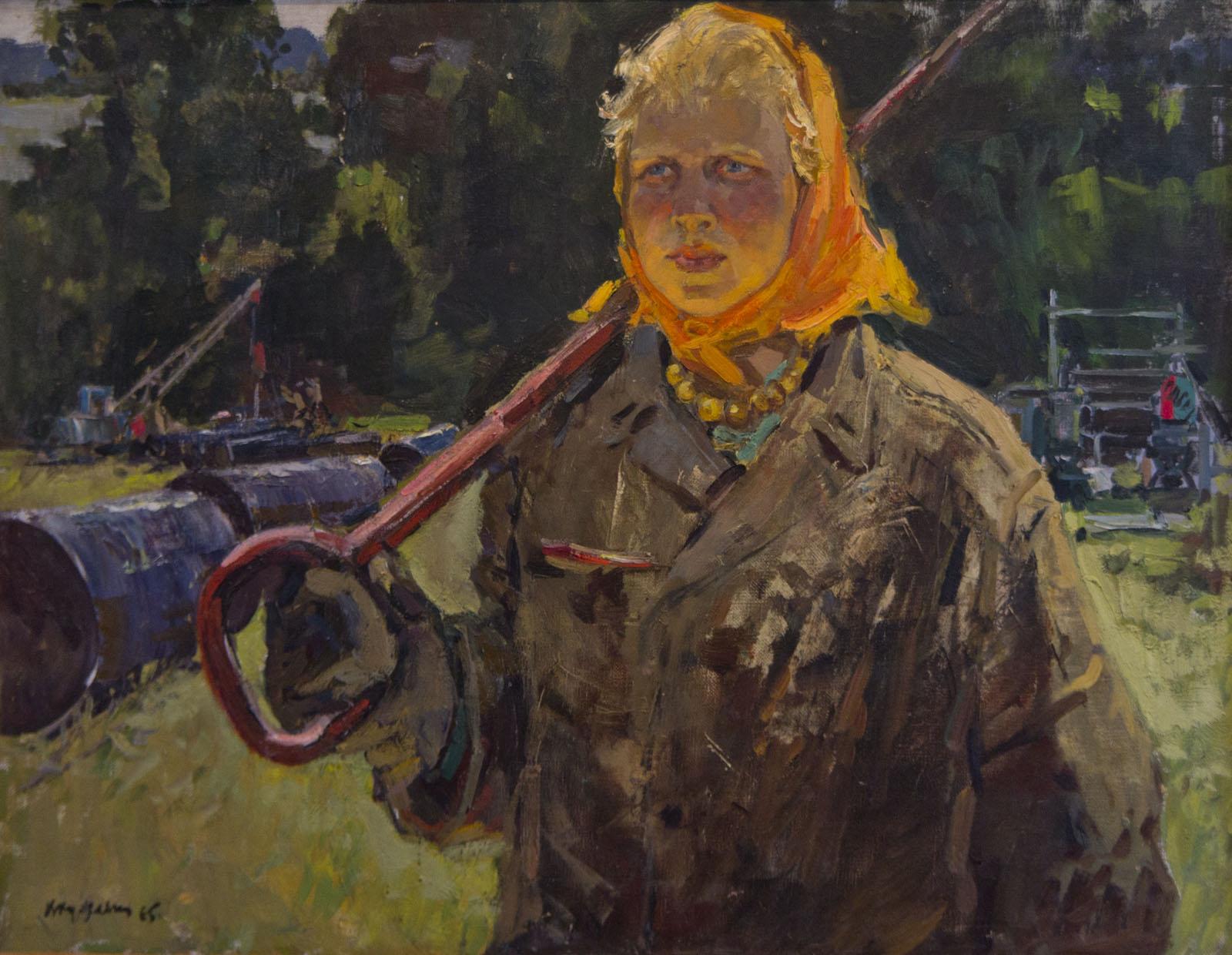 Фото №75656. Портрет нефтепроводчицы В.Липатовой, 1965, холст, масло