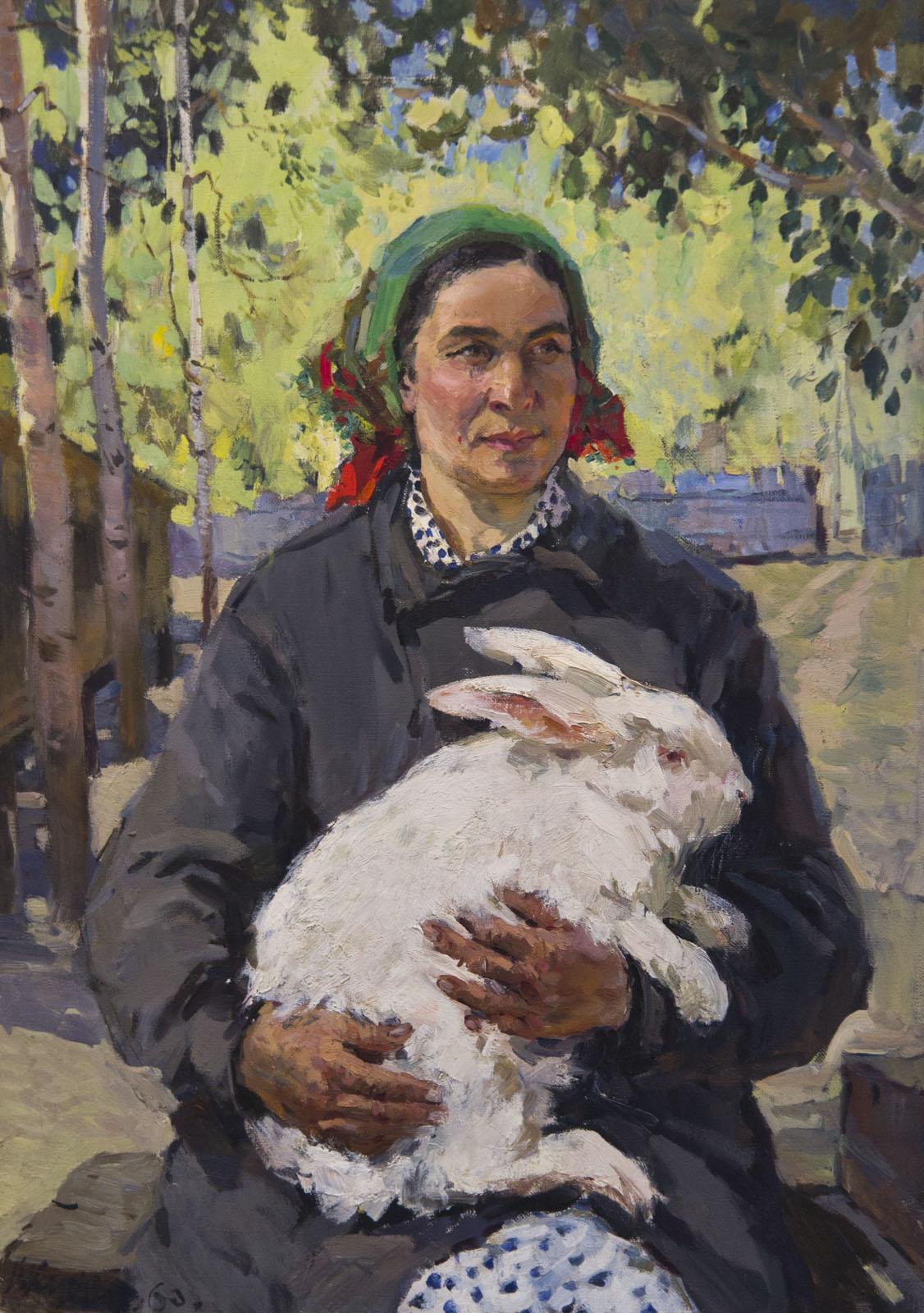 Фото №75666. Портрет бригадира кролиководческой фермы Е.П.Макаровой, 1960, холст, масло