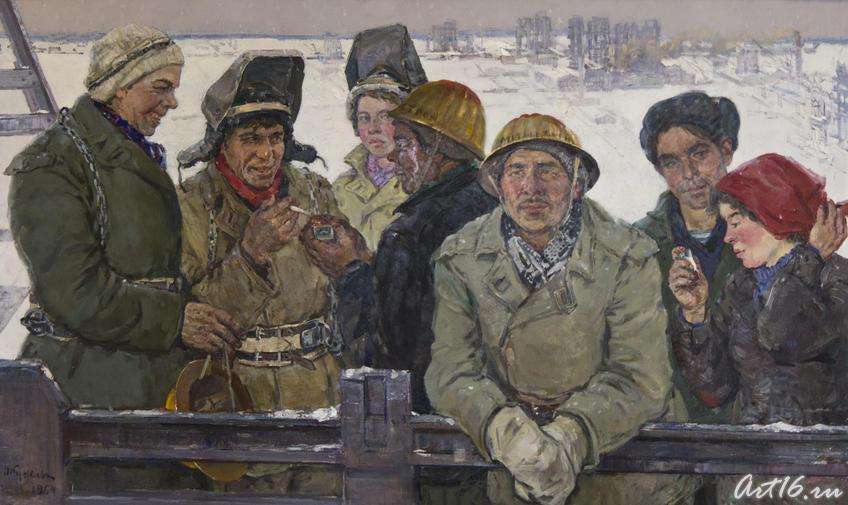 Фото №75706. Групповой портрет строителей казанского з-да «Оргсинтез», 1964, холст, масло