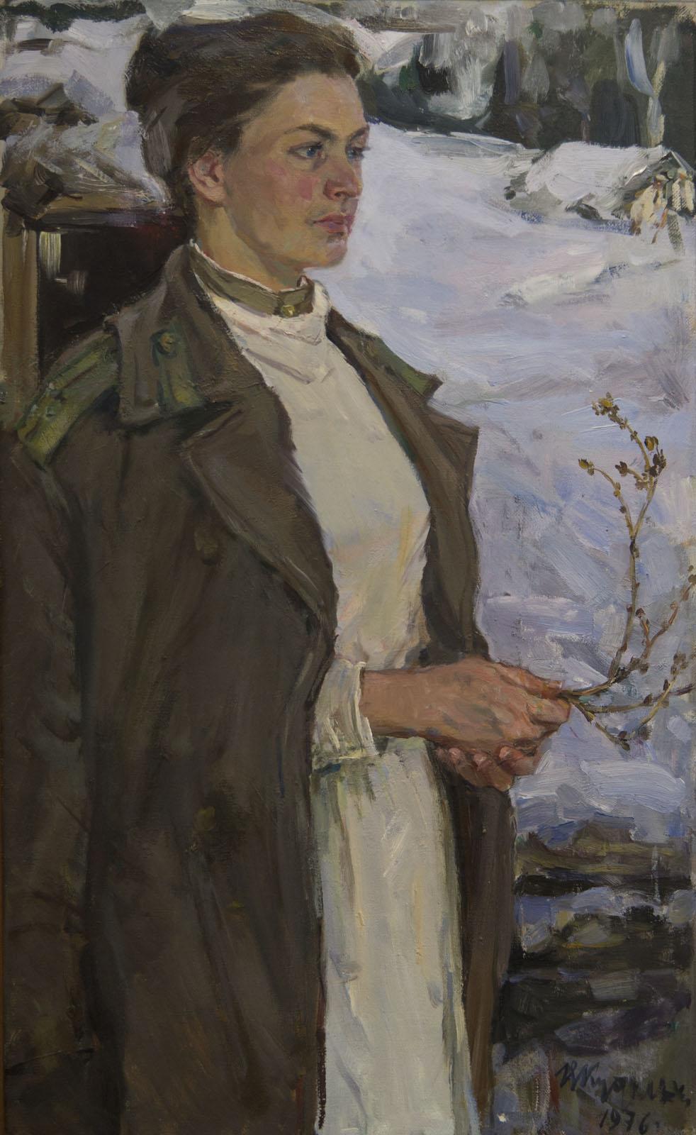 Фото №75726. Медсестра. Портрет Региты Даггелете, 1976, холст, масло