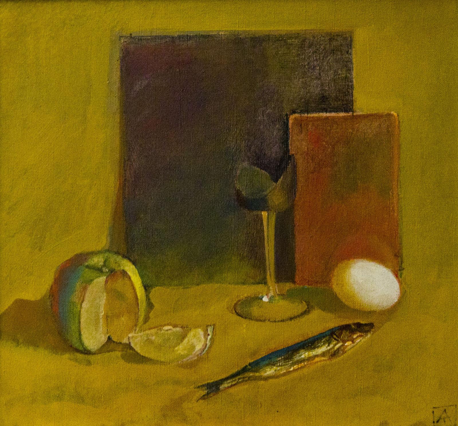 Фото №79804. Натюрморт с яйцом и красным прямоугольником. 1992. Туманов А.Р.