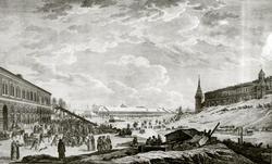 Вид ледяных гор в Москве во время Сырной недели (Масленица). Оберкоглер Г.