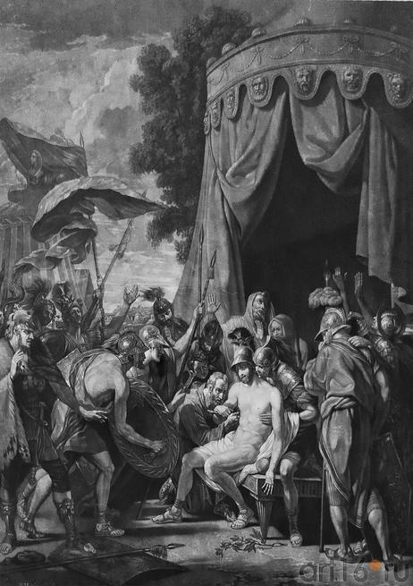 Смерть Эпаминонда, Лондон, 1774, гравюра В.Грина с картины Б. Бэста::«Державин, бич вельмож…»
