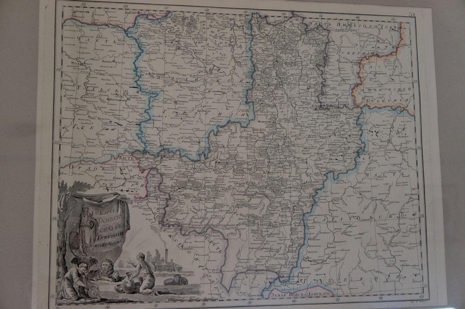 Карта тамбовской губернии. российский атлас а.вильбрехта. 18.