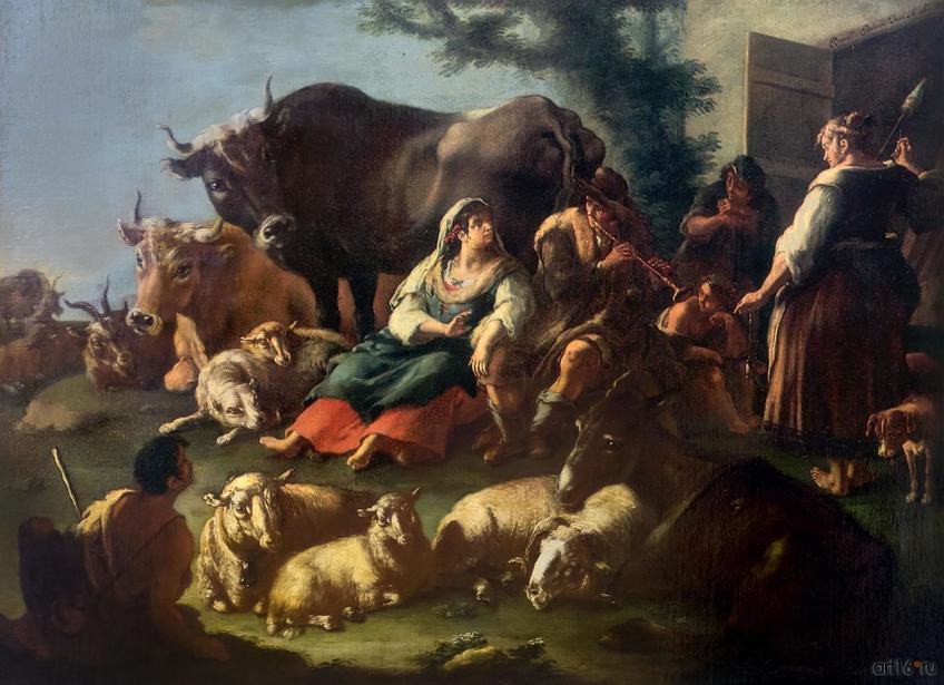 Фото №848310. ДОМЕНИКО БРАНДИ 1684, Неаполь - 1736, Неаполь Пастушеская сцена. 1730 Холст, масло