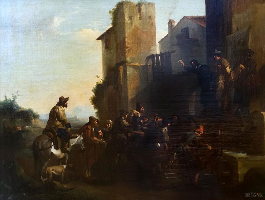 Фото №848317. ЯН МИЛЬ 1599 (?), Беверен-Вас близ Антверпена -1664, Турин Шарлатан Холст, масло