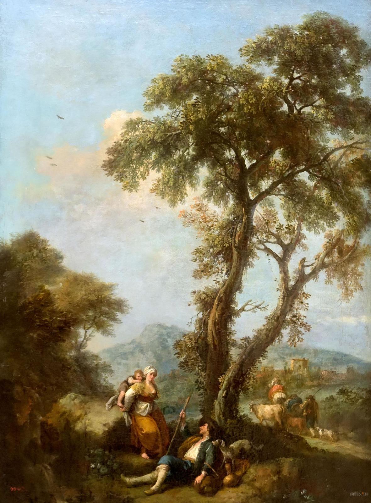 Фото №848323. ФРАНЧЕСКО ДЗУККАРЕЛЛИ Пнтюьяно, 1702 - Флоренция. 1788 Пейзаж с женщиной, несущей ребенка Холст, масло