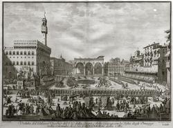 КАРЛО ГРЕГОРИ 1702. Вид площади Синьории во время праздника Иоанна Крестителя Лист из серии «24 избранных вида Флоренции».