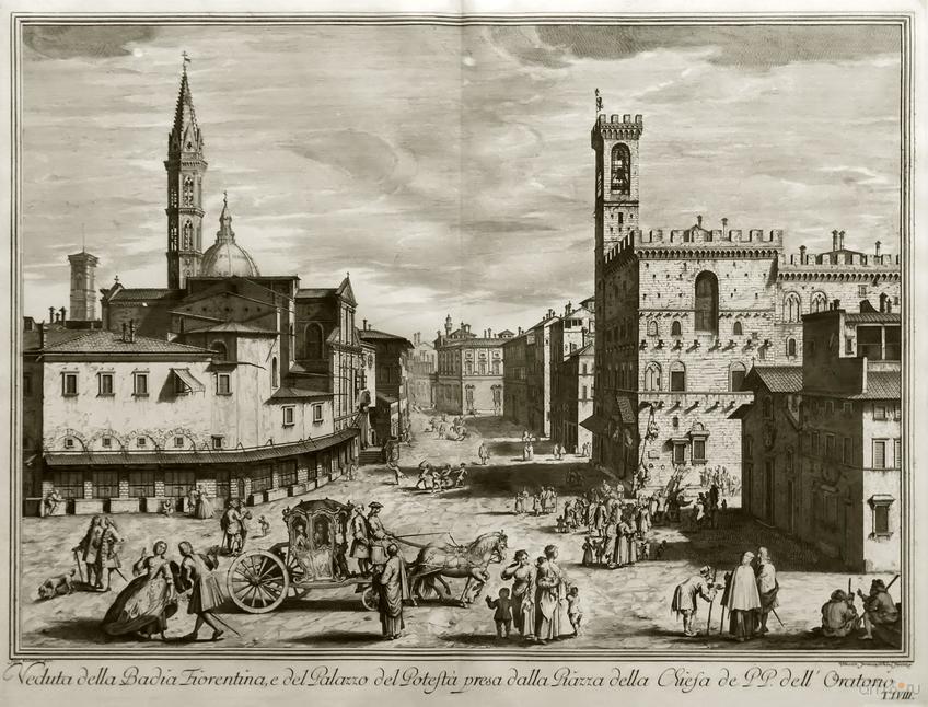 Фото №848408. ВИНЧЕНЦО ФРАНЧЕСКИНИ 1695,  Флоренция Вид площади около Флорентийского аббатства и дворца Подеста (Барджелло).