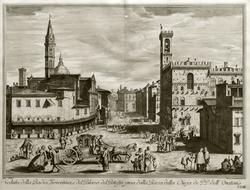 ВИНЧЕНЦО ФРАНЧЕСКИНИ 1695,  Флоренция Вид площади около Флорентийского аббатства и дворца Подеста (Барджелло).