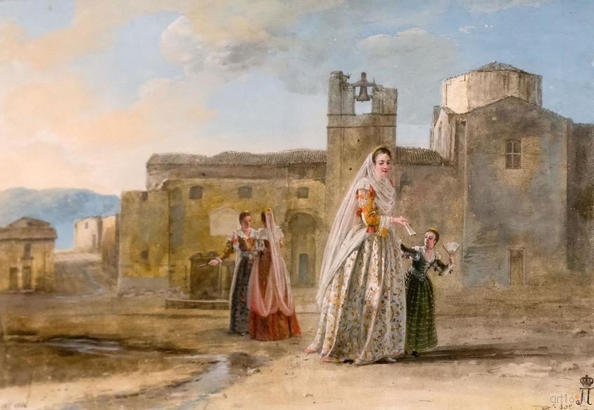 Фото №848444. ЖАН УЭЛЬ. Костюм знатных албанских женщин в Палаццоадриано. 1778