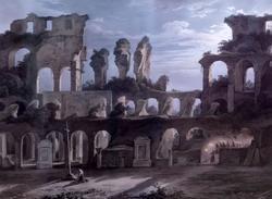 РУДОЛЬФ МЮЛЛЕР. Руины Колизея в лунную ночь. 1840-е