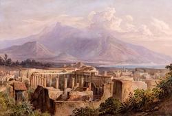 РУДОЛЬФ МЮЛЛЕР 1802.  Руины храма Геракла в Помпеях. Ок. 1830 Бумага, акварель, гуашь