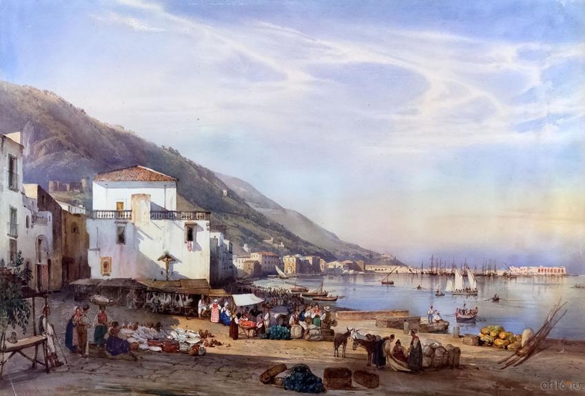 Фото №848468. ДЖАЧИНТО ДЖИГАНТЕ 1806, Неаполь - 1876, Неаполь Прочида. 1836 Бумага, акварель
