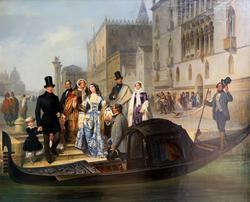 ДЖУЛИО КАРЛИНИ 1830, Венеция - 1887, Венеция Семья Толстых в Венеции. 1855