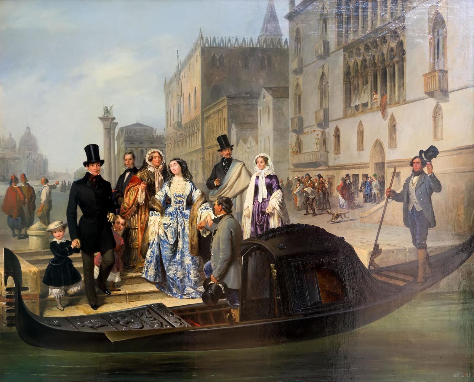 Фото №848504. ДЖУЛИО КАРЛИНИ 1830, Венеция - 1887, Венеция Семья Толстых в Венеции. 1855