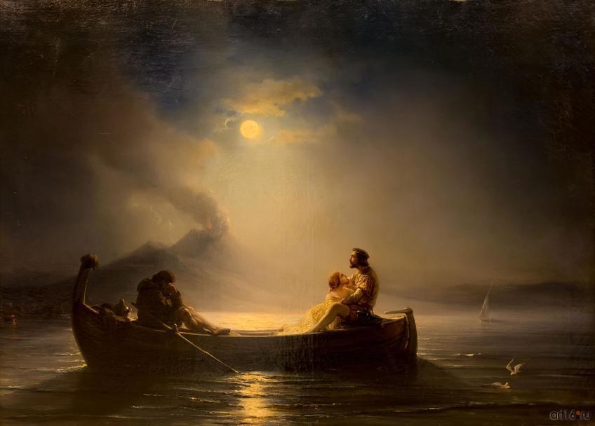 Фото №848540. ТЬЮДОР ГЮДЕН 1802, Лунная ночь в Неаполитанском заливе.