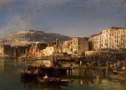 ЖЮЛЬ РЮИНАР ДЕ БРИМОН. Вид Неаполя с замком Сант-Эльмо.