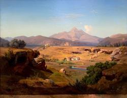 ХЕЙНРИХ ЛУИ ТЕОДОР ГУРЛИТ. Вид в окрестностях Палермо. 1847