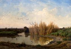 ФИЛИППО ПАЛИЦЦИ. Пейзаж с ласточками. 1868