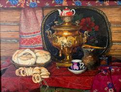 Чай с калачами. 1972. Стожаров Владимир Федорович. 1926-1973