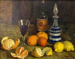 Натюрморт. Апельсины, фрукты, вино. 1938. Машков Илья Иванович. 1881-1944