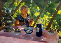 На веранде. 1933. Тимофеев Василий Кириллович. 1891-1968