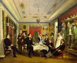 За чайным столом. 1851. Волосков Алексей Яковлевич. 1822-1882